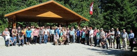 Volunteers and dignitaries at July 2013 Grand Opening of the Memekay horse camp RSTBC rec site in Sayward Valley